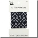 "5/8"" Fold-Over Elastic, 1 Yard, Quatrefoil Black"