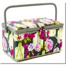 "Medium Rectangle Sewing Basket - Grey Floral Pattern, 11-1/2"" x 6-5/8"" x 6-1/2"""