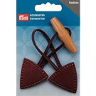 Sew On Toggle, Brown, Faux Leather Tabs with Natural Wooden Buttons
