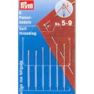 Self-threading needles with split eye