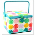 "Large Square Sewing Basket-10-1/2""x10-1/2""x7-3/4"", Button Motif Pattern"