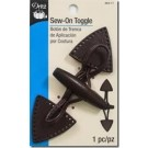 Sew On Toggle, Brown faux leather tabs with brown wooden button