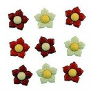 "Poinsettias Buttons, 3/4"", 9 count"