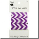 "5/8"" Fold-Over Elastic, 1 Yard, Chevron Purple"