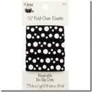 "3/4"" Stylish Fold-Over Elastic, 1 Yard, Reversible No-Slip Dots Black/White"