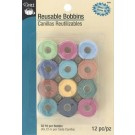 Reusable Bobbins Class 15, Pre-filled 50 Yd. (45.72m) Colourfast Thread per Bobbin, Assorted Colours, 12 pc.