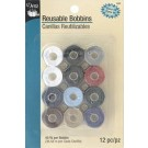 Reusable Bobbins Class 66, Pre-filled 40 Yd. (36.58m) Colourfast Thread per Bobbin, Assorted Colours, 12 pc