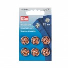 Prym Sew-On Snap Fasteners, 15mm, Brass