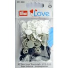 Non-Sew Colour Snaps, Mixed Colours: Gray, Navy, & White, ROUND, 12.4mm, 30 Sets