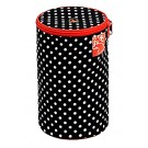Prym Wool Dispenser With Zip Opening At The Top, Polka Dots Pattern, Black & White Design, 14.5cm x 21.5cm