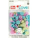 Non-Sew Colour Snaps, Mixed Colours: Pastel Blue, Pastel Pink, & Pastel Green, HEART, 12.4mm, 30 Sets
