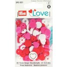 Non-Sew Colour Snaps, Mixed Colours: Red, White, & Pink, HEART, 12.4mm, 30 sets