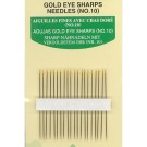 Gold Eye Needles, Sharps, 20 of no.10