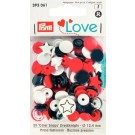Non-Sew Colour Snaps, Mixed Colours: Red, White, & Navy, STAR, 12.4mm, 30 sets