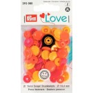 Non-Sew Colour Snaps, Mixed Colours: Red, Yellow, and Orange, SMILING FLOWER, 13.6 mm, 21 sets