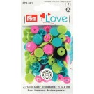 Non-Sew Colour Snaps, Mixed Colours: Turquoise, Apple Green, & Pink, SMILING FLOWER, 13.6mm, 21 sets