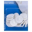 Linen Buttons, Twist, 15mm, White, 18 pieces