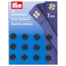 Sew-on Snap Fasteners, Black, 7mm, 12 pieces