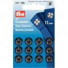 Sew-on Snap Fasteners, Black, 11mm, 12 pieces