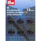Sew-On Snap Fasteners, 13mm, Black, 6 Count