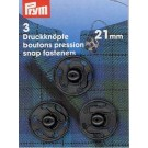 Sew-On Snap Fasteners, Black, 21mm, 3 Pieces