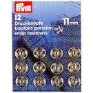 Sew-on Snap Fasteners, Silver-coloured, 11mm, 12 pieces