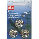 Sew-on Snap Fasteners, Silver-coloured, 21mm, 3 pieces