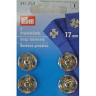 Sew-on Snap Fasteners, Silver-coloured, 17mm, 4 pieces
