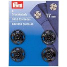 Sew-on Snap Fasteners, Black, 17mm, 4 pieces
