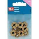 Sew-On Snap Fasteners, Brass, Rustproof, 14mm, 5 Sets, Light Beige