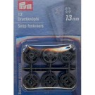Sew-on snap fasteners, plastic, 13mm, black, 12 pieces