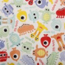 "Babyville PUL Fabric Monsters, Multi Coloured, 64"" X 6 Yards Bolt"