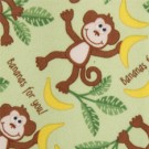 "Babyville PUL Fabric Playful Friends Monkeys, Green, 64"" X 6 Yards, Bolt"