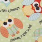 "Babyville PUL Fabric Playful Friends Owls, Green, 64"" X 6 Yards, Bolt"