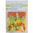 Babyville  Plastic Resins Snaps 12.2mm, 60 Sets, Green, Yellow, Orange