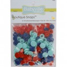 Babyville  Plastic Resins Snaps 12.2mm, 60 Sets, Red, Blue, Lt. Blue