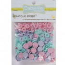 Babyville  Plastic Resins Snaps 12.2mm, 60 Sets, Butterflies