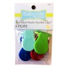 Babyville Plastic Pacifier Clips, 4 pc, Blue, Aqua, Green, Red Assorted