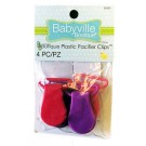 Babyville Plastic Pacifier Clips, 4 pc, Pink/Purple Assorted