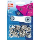 Press Fasteners 'Jersey' Snaps,  Non-Sew Press Fasteners, Eyelets And Rivets, 18mm, Silver, 6  Count