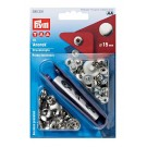 Prym Anorak Non-Sew Press Snap Fastener Kit, Nickel, 15mm (Includes 10 Sets of Snaps)