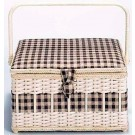 "Large Rectangle Sewing Basket - 12.5"" x 9-1/2"" x 7-1/5 "", Square Linen Pattern (Contents Not Included)"
