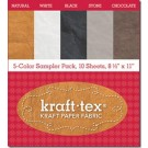 "KRAFT-TEX 5-COLOR SAMPLER PACK (Kraft Paper Fabric - Tough, Touchable New Paper), 10 Sheets, 8.5"" x  11"""