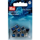 Creative Decor With Prongs, Square Shape,  Blue-Coloured,  8mm,  20 Count