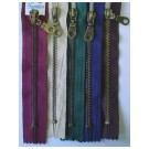 Anti. Brass Non Separable Zipper, 15cm, Pull Tag