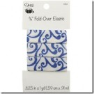 "5/8"" Fold-Over Elastic, 1 Yard, Scroll Blue"