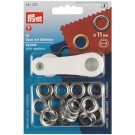 Eyelets With Washers, Silver, 11mm