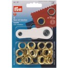 Prym Eyelets With Washers 11mm, Gold, 15pc.