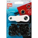 Prym Eyelets With Washers, 11mm, Black Oxidized, 15pc.