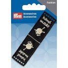 Prym Handmade Knitting Label, 80x20mm, Sew-On Holes, Black